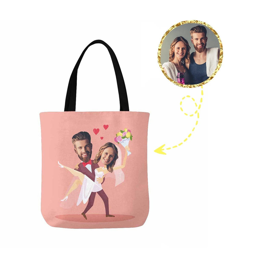 Custom Face Wedding Couple Canvas Tote Bag