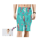 Custom Face Mermaid Men's Beach Shorts