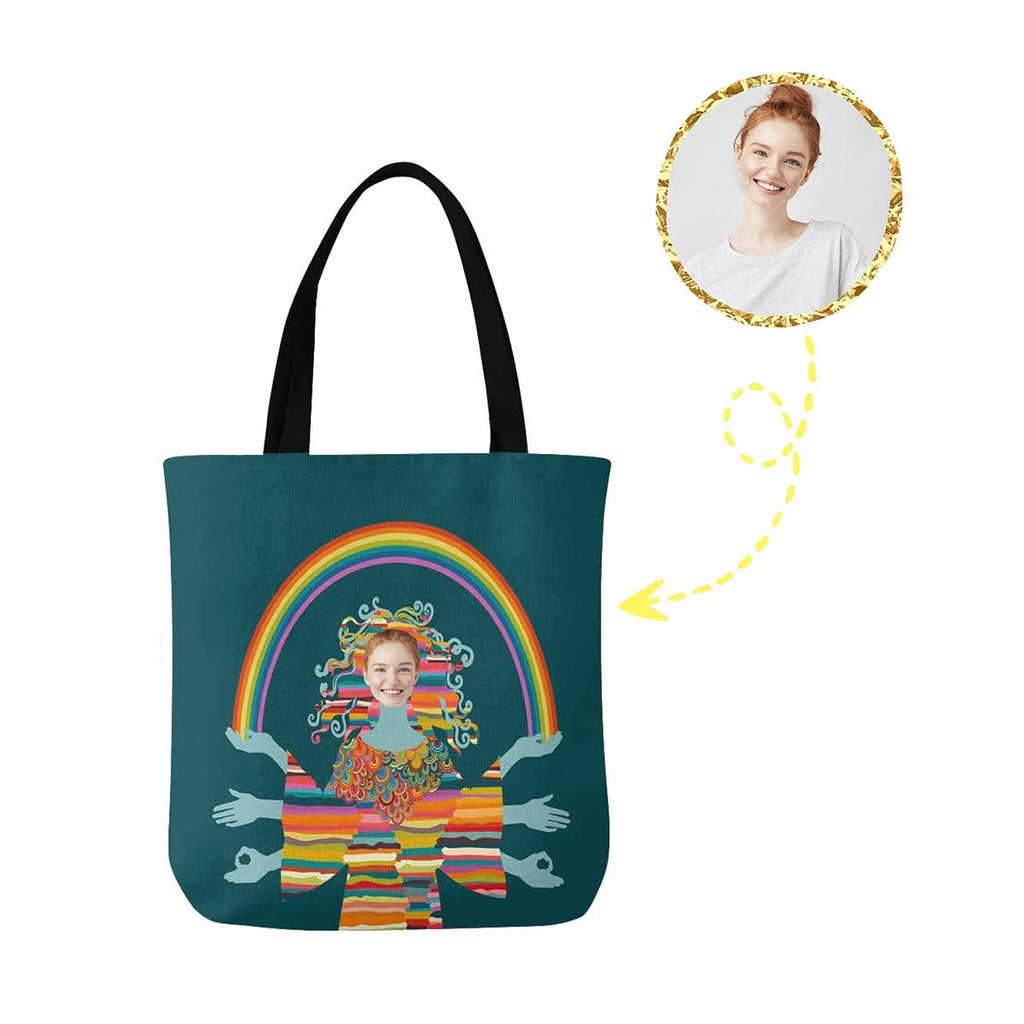 Custom Face Rainbow Canvas Tote Bag