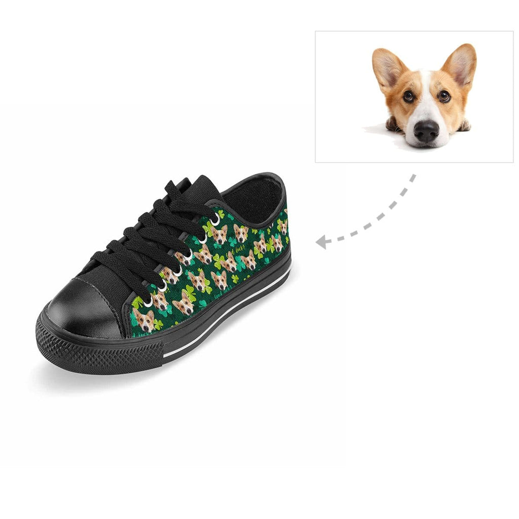 Custom Dog Face St. Patrick Shamrock Aquila Low Top Canvas Shoes