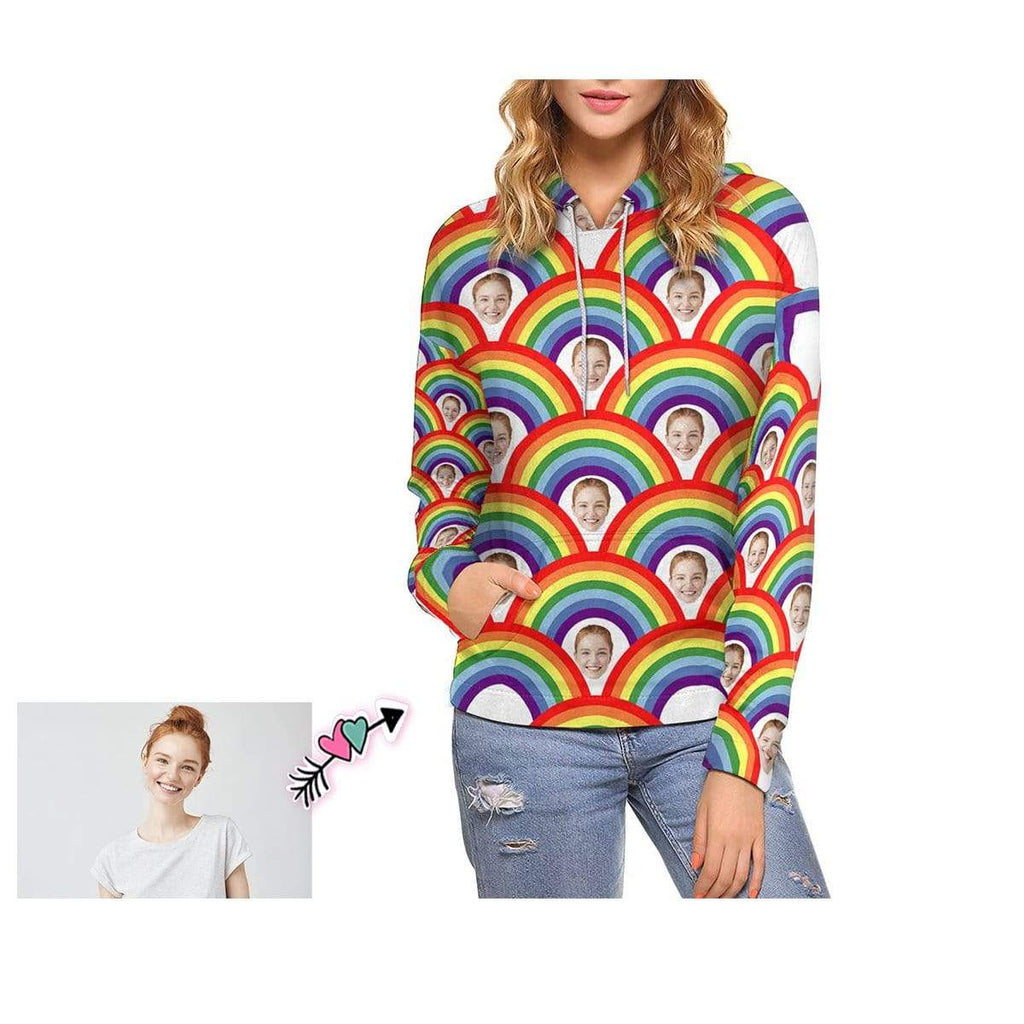 Custom Mother Face Rainbow Women's Hoodie