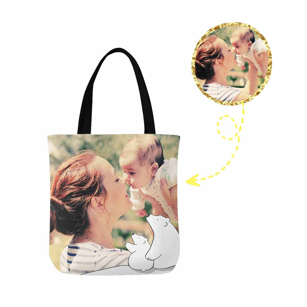 Custom Mom & Baby Photo Canvas Tote Bag