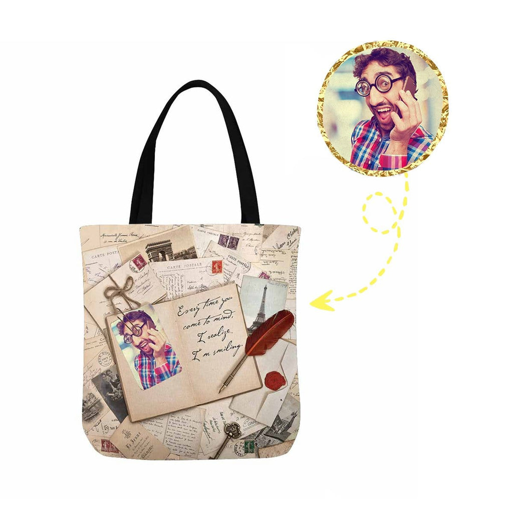 Custom Photo Vintage Canvas Tote Bag