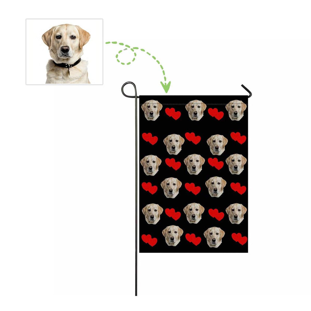 Custom Dog Face Love Heart Garden Flag