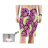 Custom Father Face Banana Leopard Print Men's Beach Shorts
