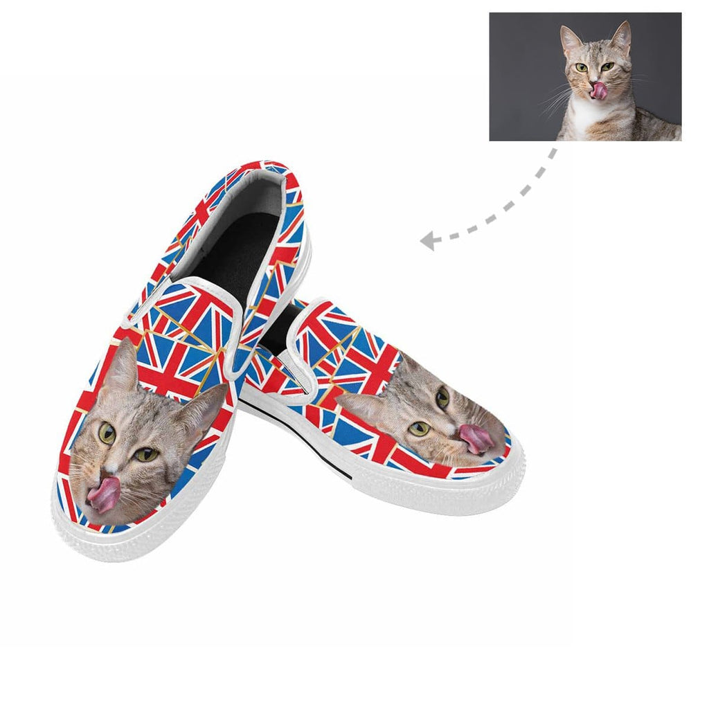 Custom Cat Face Flag Slip-on Canvas Shoes