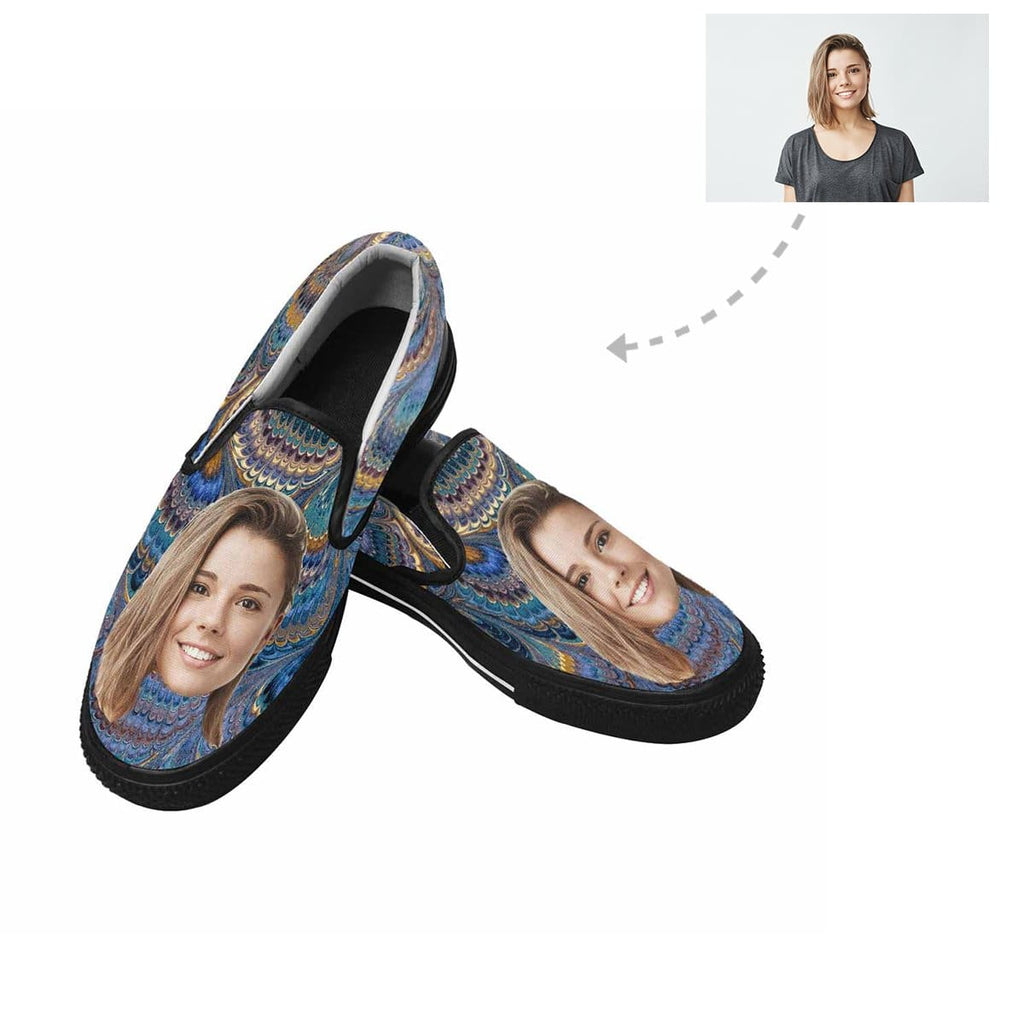 Custom Face Peacock Feather Slip-on Canvas Shoes