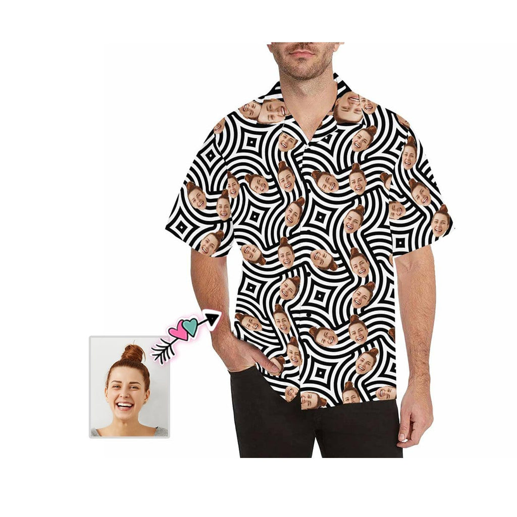 Custom Girlfriend Face White and Black Men's All Over Print Hawaiian Shirt