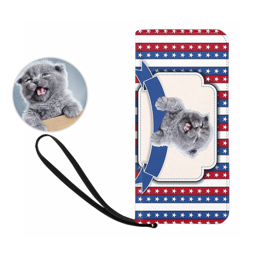 Custom Cat Face American Flag Women's Zip Wallet