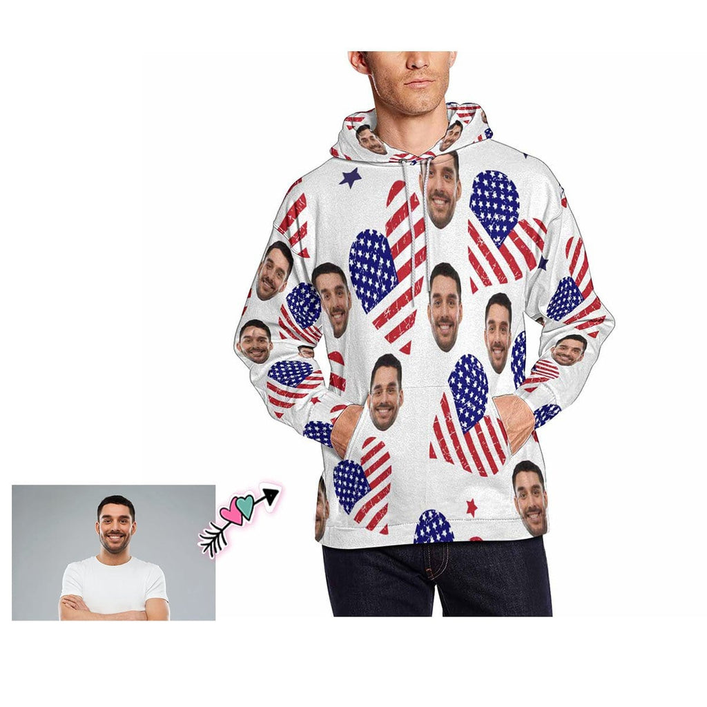 Custom Father Face Flag Love Heart Men's Hoodie