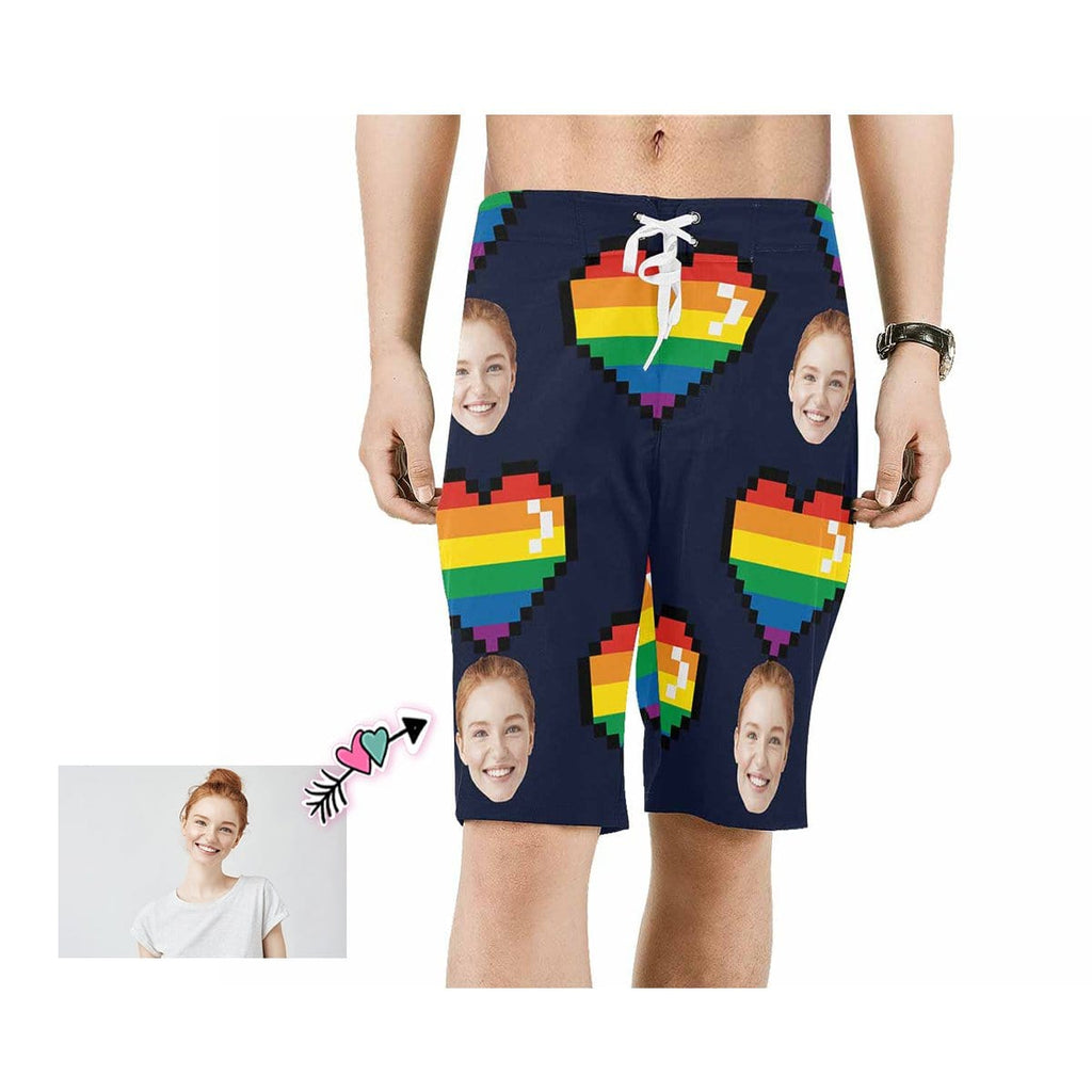 Custom Face Rainbow Love Heart Men's Beach Shorts