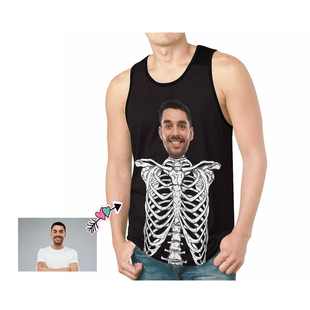 Custom Father Face Human Skeleton Men's All Over Print Tank Top