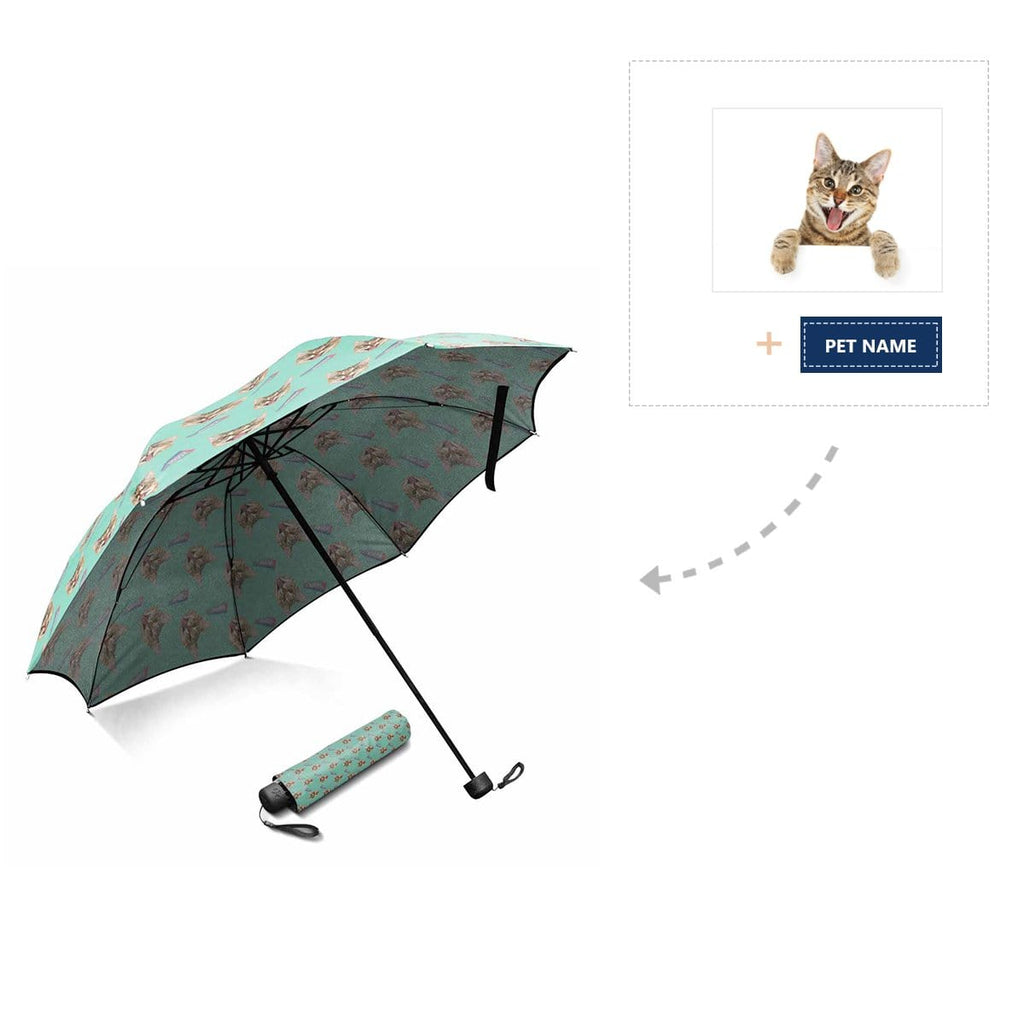 Custom Cat Face Name Foldable Umbrella