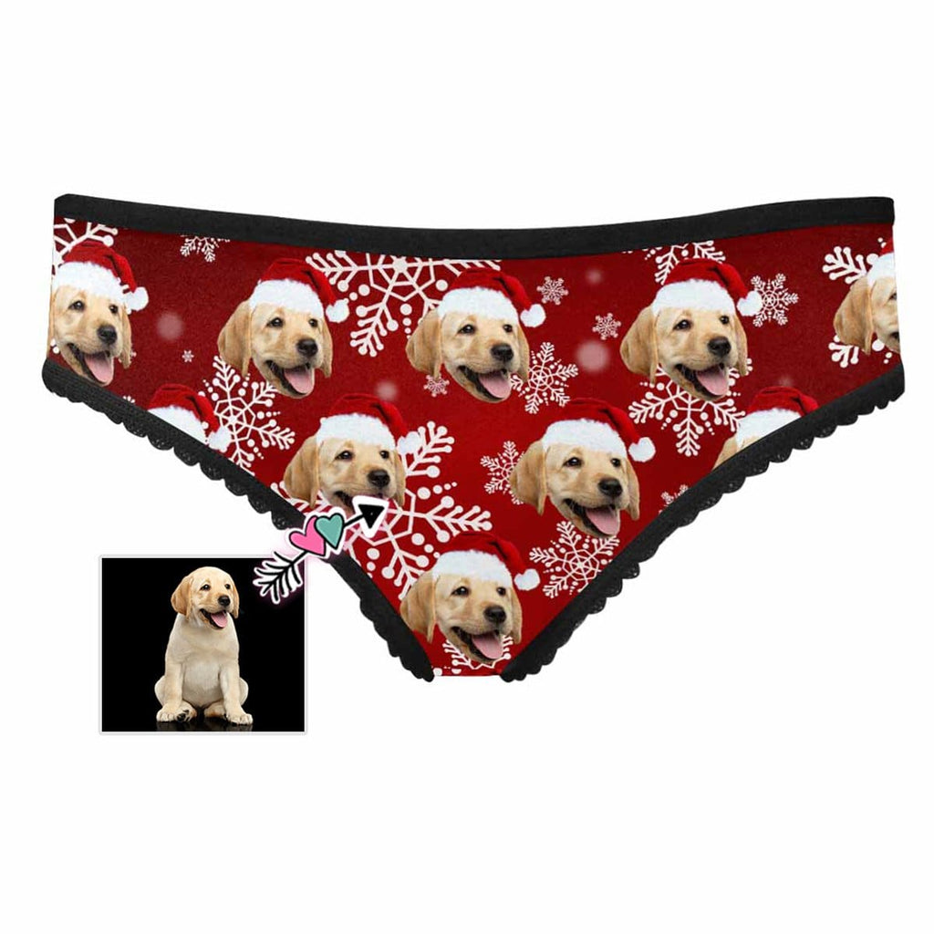 Custom Dog Christmas Snowflake Women's High-cut Briefs