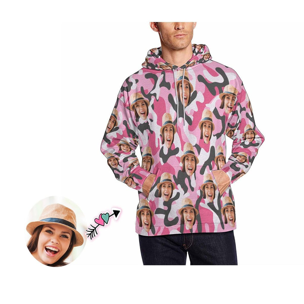 Custom Face Pink Camo Style Men's Hoodie