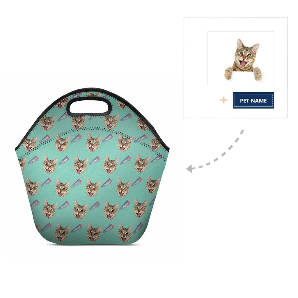 Custom Cat Face Name Neoprene Lunch Bag