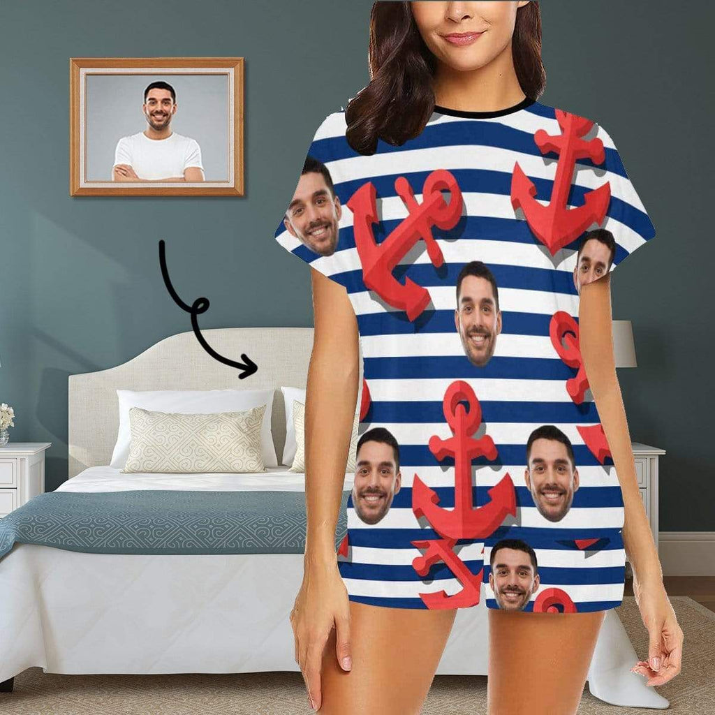 Custom Face Anchor Women's Short Pajama Set