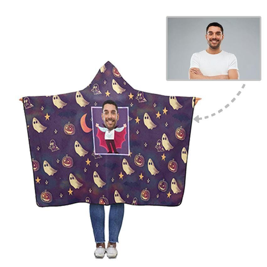 Custom Face Purple Ghost Hooded Blanket