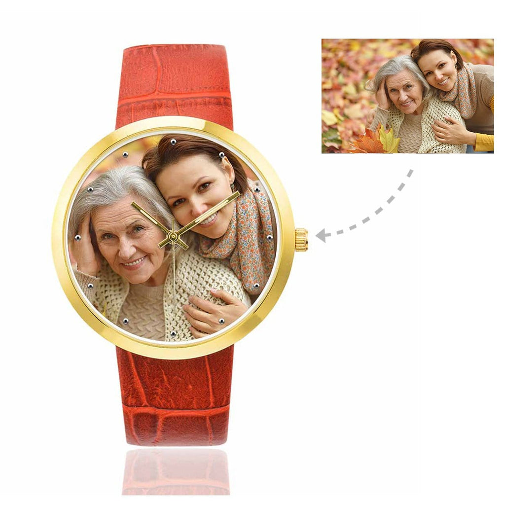 Custom Women's Rose Golden Love Mom Photo Watch,Red Leather Strap