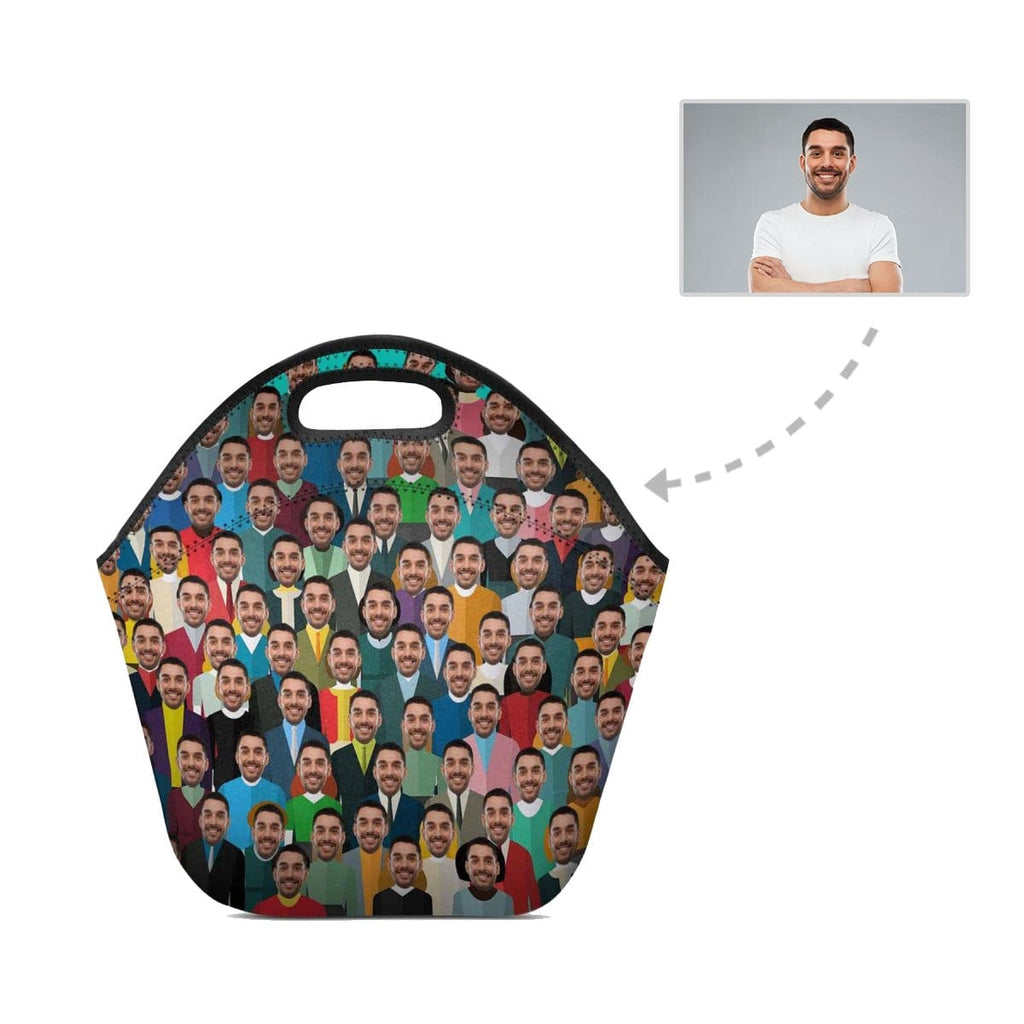 Custom Face Crowds Neoprene Lunch Bag