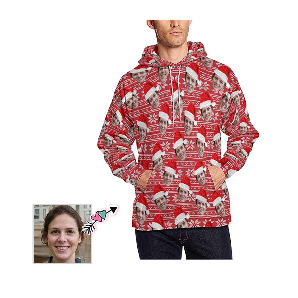 Custom Face Red Christmas Hat Men's All Over Print Hoodie