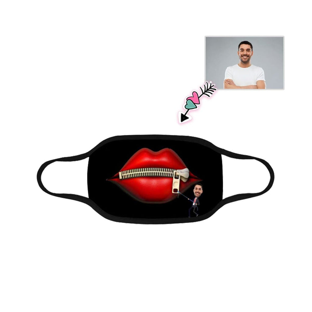 Custom Face Red Lip Zipper Mouth Mask Washable Reusable
