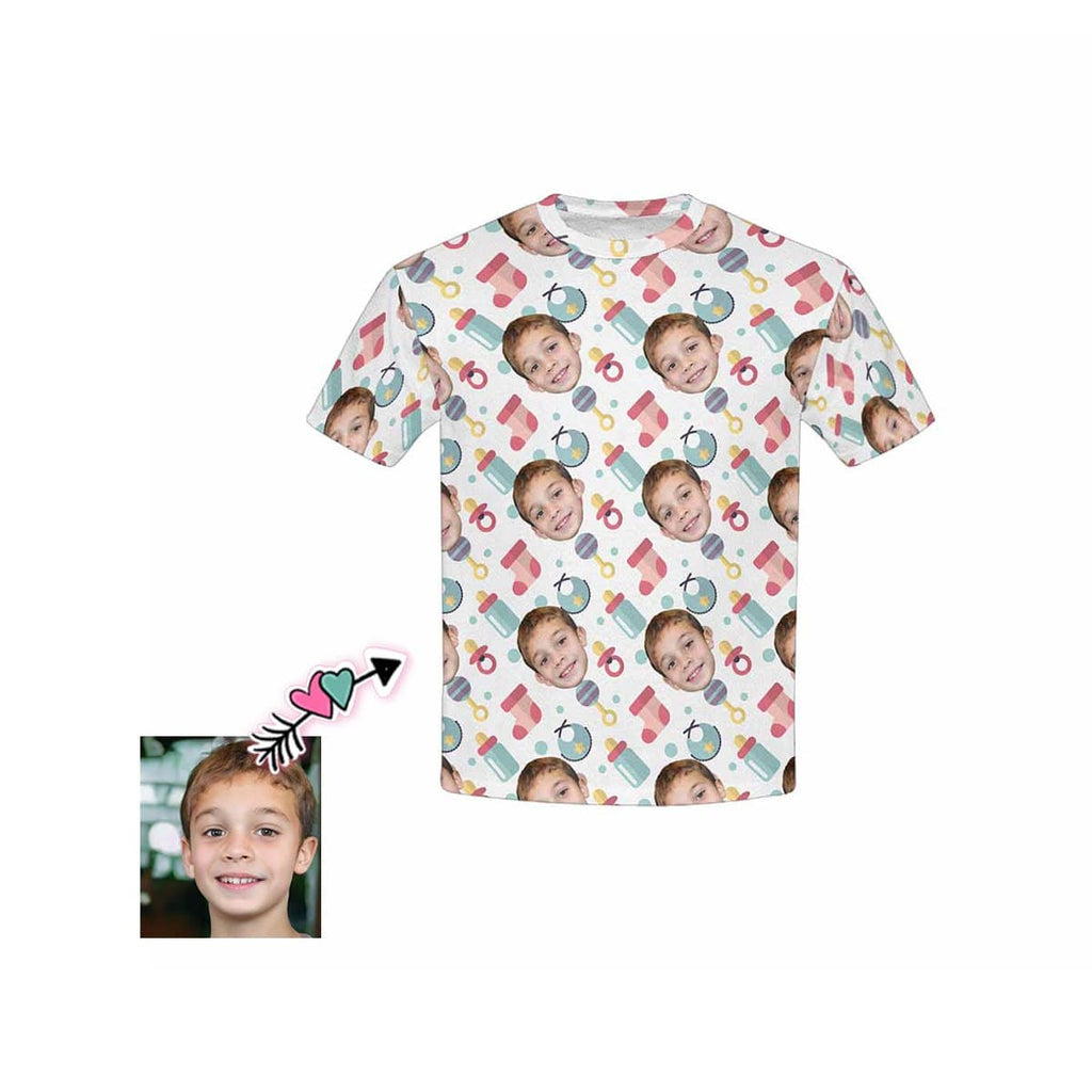 Custom Face Bottle Socks Kid's All Over Print T-shirt