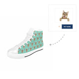 Custom Cat Face Name High Top Canvas Shoes