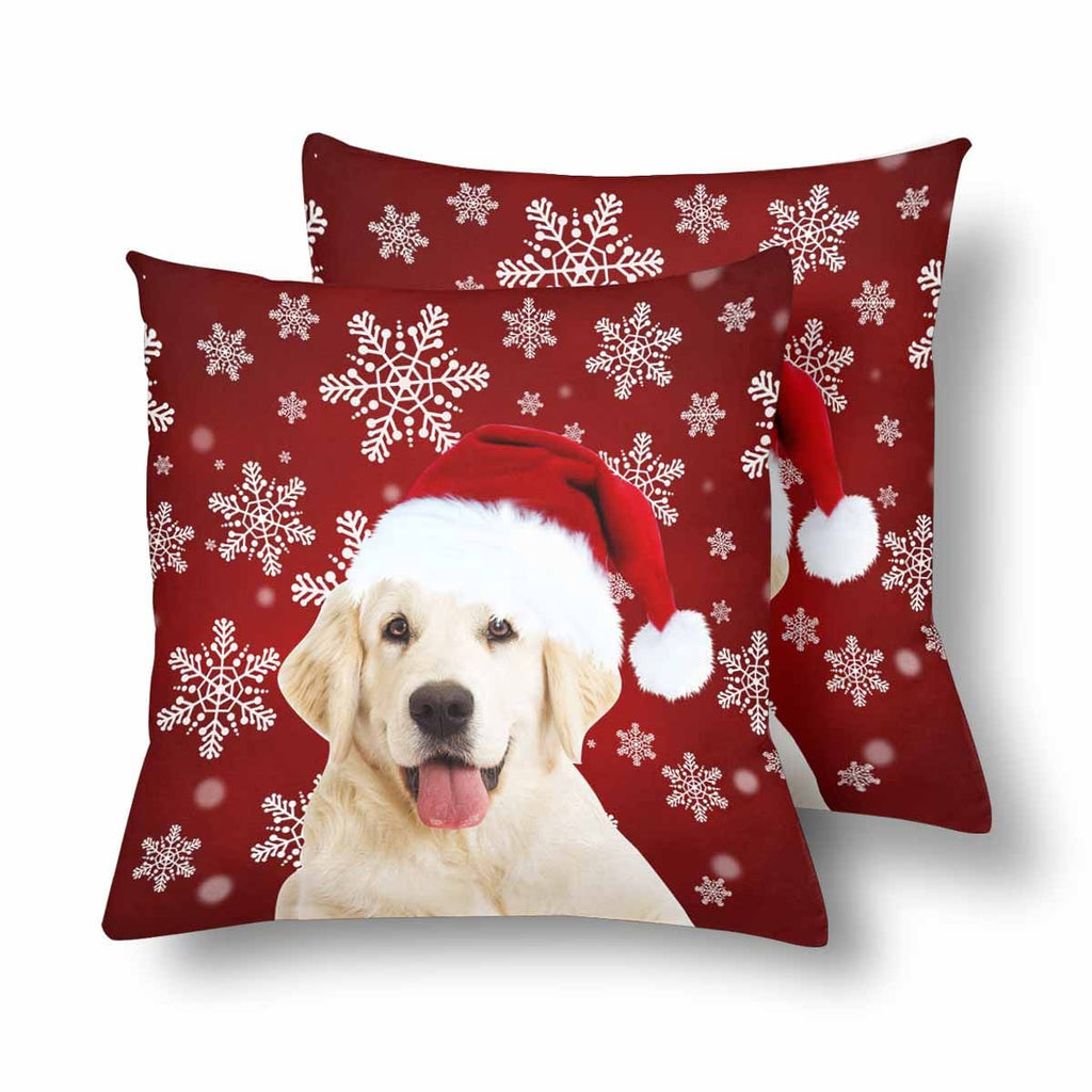 Custom Dog Christmas Snowflake Throw Pillow Cover