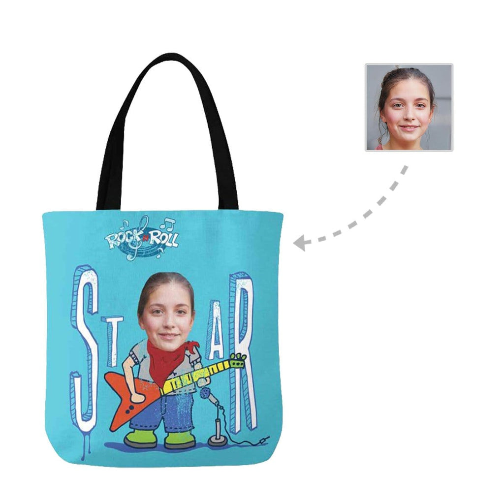 Custom Face Rock Roll Canvas Tote Bag