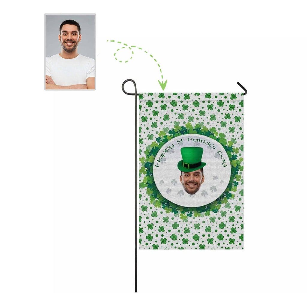 Custom Face Green Hat Flower Garden Flag