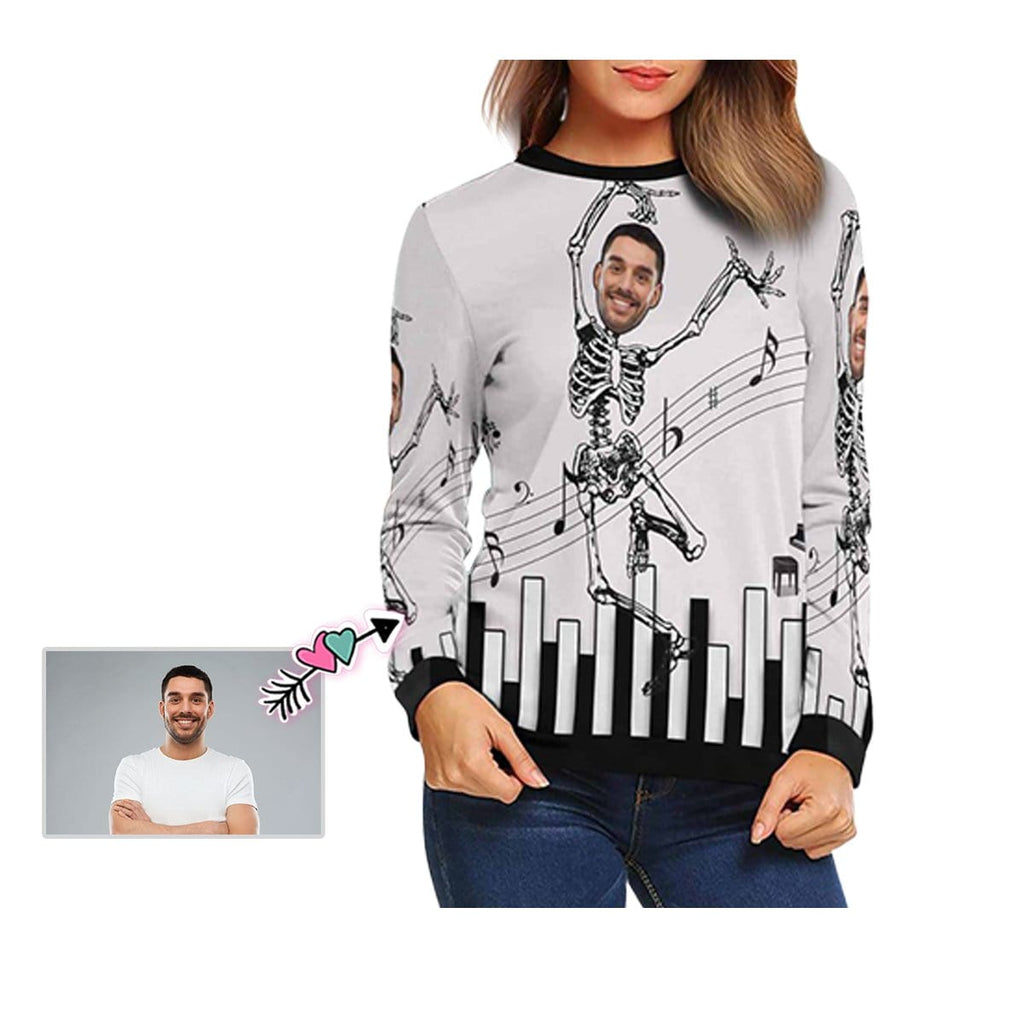 Custom Face Skull Dance Women's Crewneck Sweatshirt