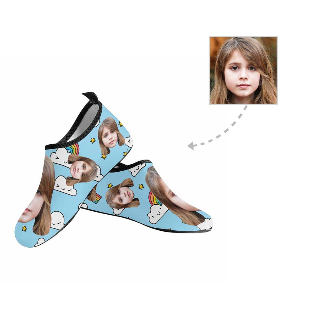 Custom Kid Face Rainbow Kid's Barefoot Aqua Shoes
