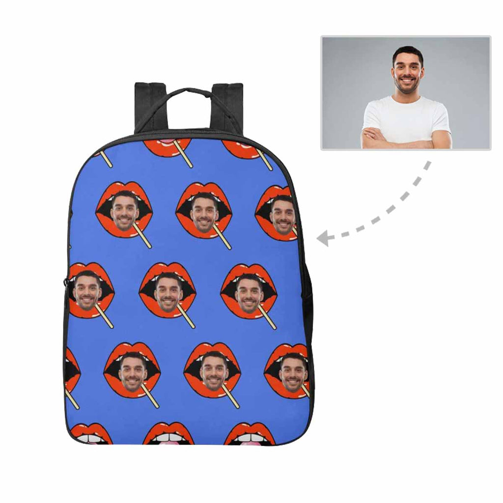 Custom Face Red Lips Unisex Nylon Backpack
