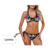 Custom Name Colorful Women's Strappy Halter Bikini Swimsuits