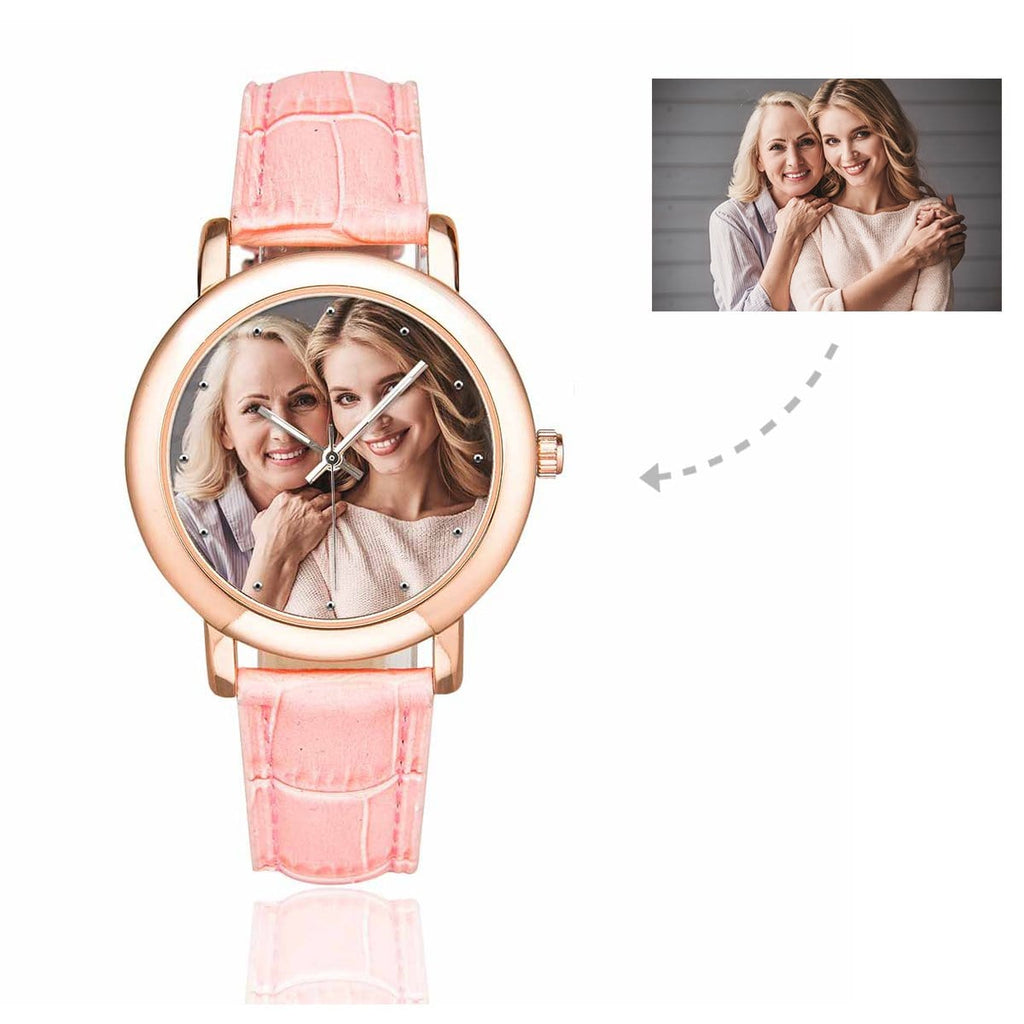 Custom Women's Rose Golden Mom&Daughter Photo Watch, Pink Leather Strap
