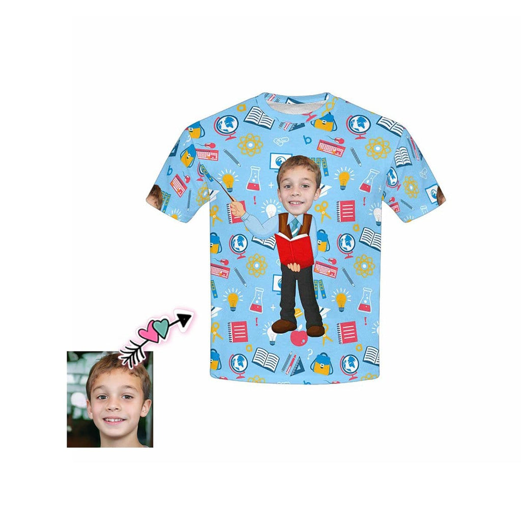 Custom Face Globe Book Kid's All Over Print T-shirt