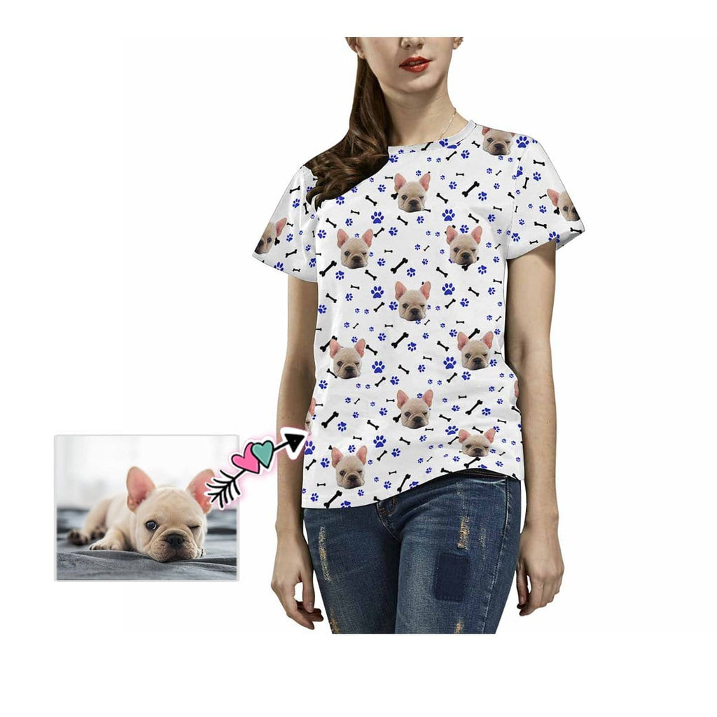 Custom Dog Face Paw and Bone Women's T-shirt