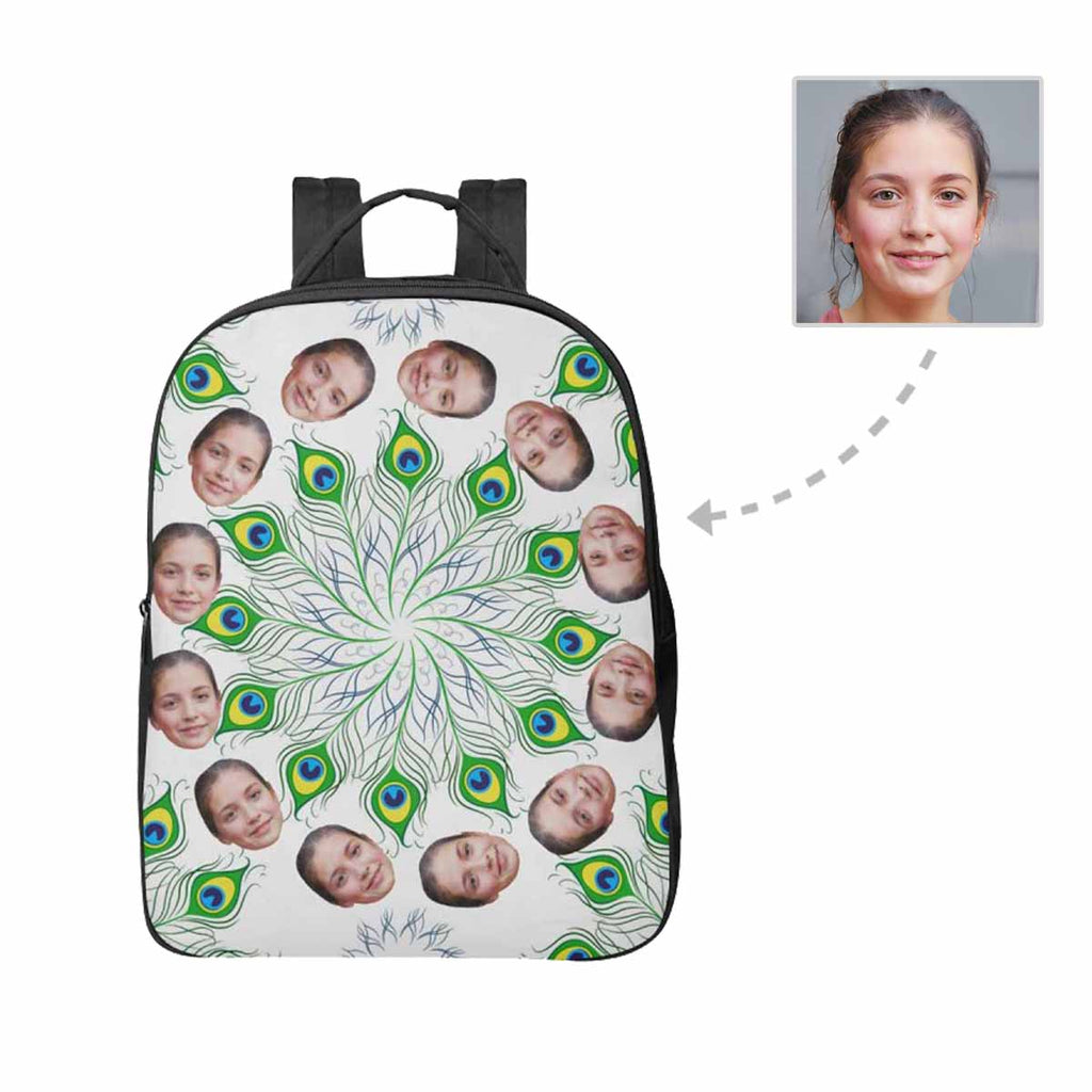 Custom Face Peacock Unisex Nylon Backpack