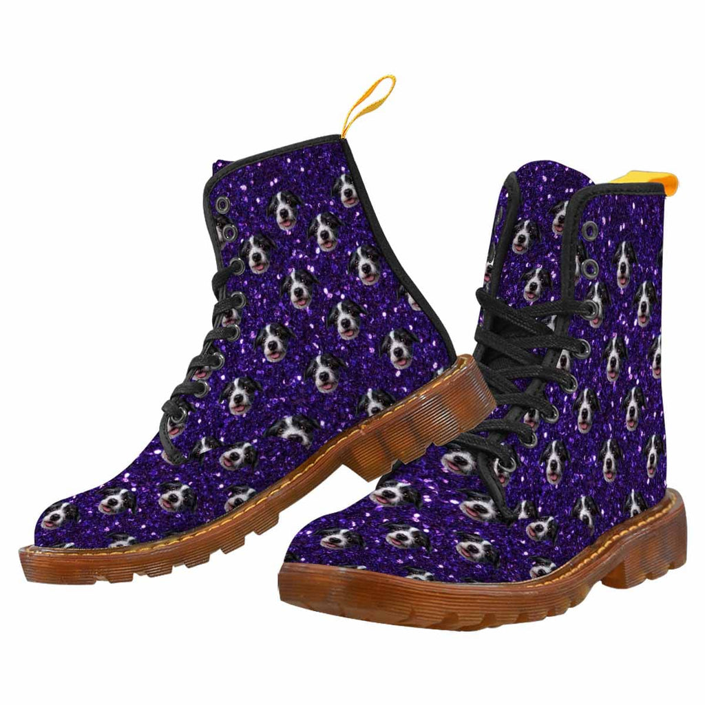 Custom Dog Face Violet Sparkly Canvas Women's Boots