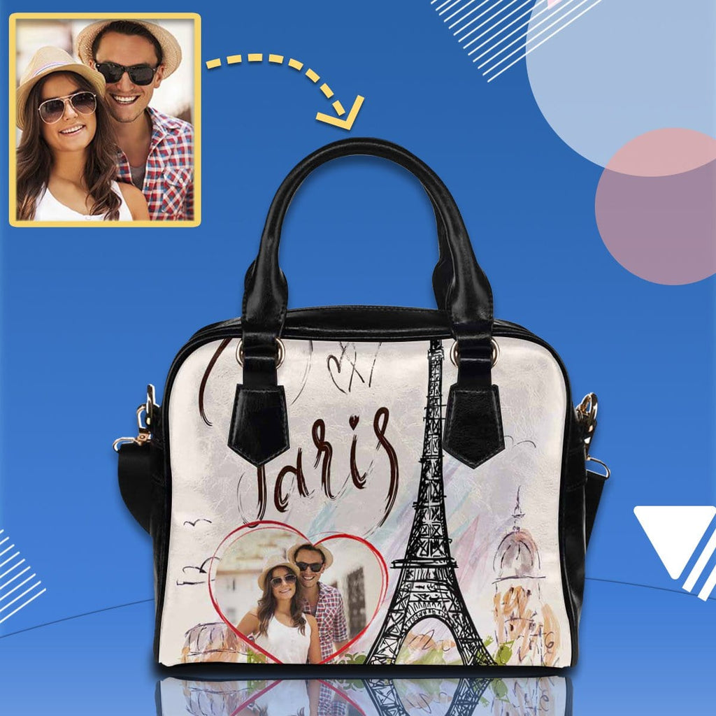 Custom Love Couple Paris Shoulder Handbag