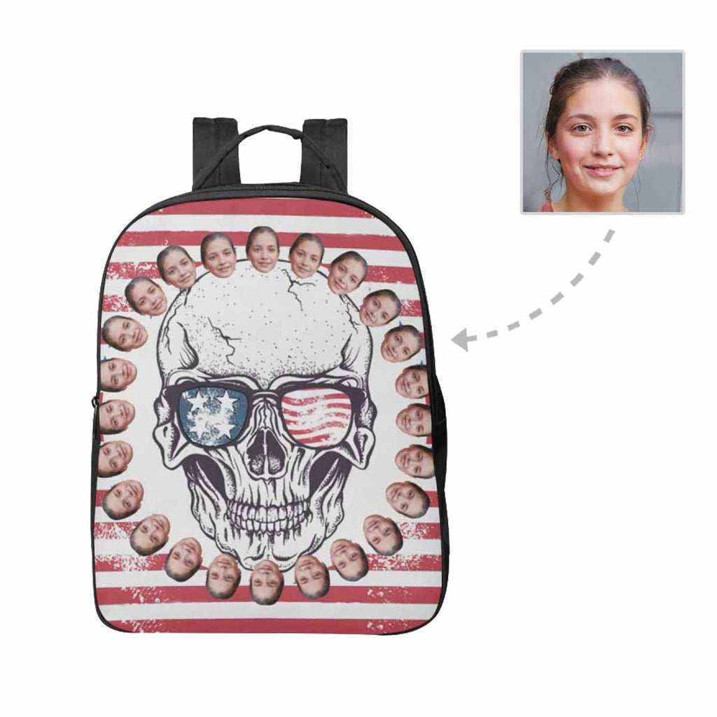 Custom Face Skull Unisex Nylon Backpack