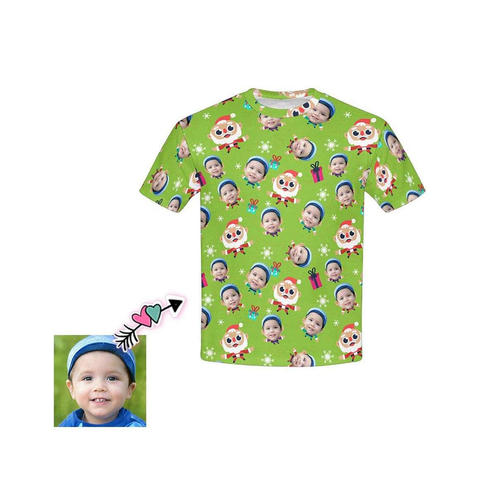 Custom Face Santa Claus Kid's All Over Print T-shirt