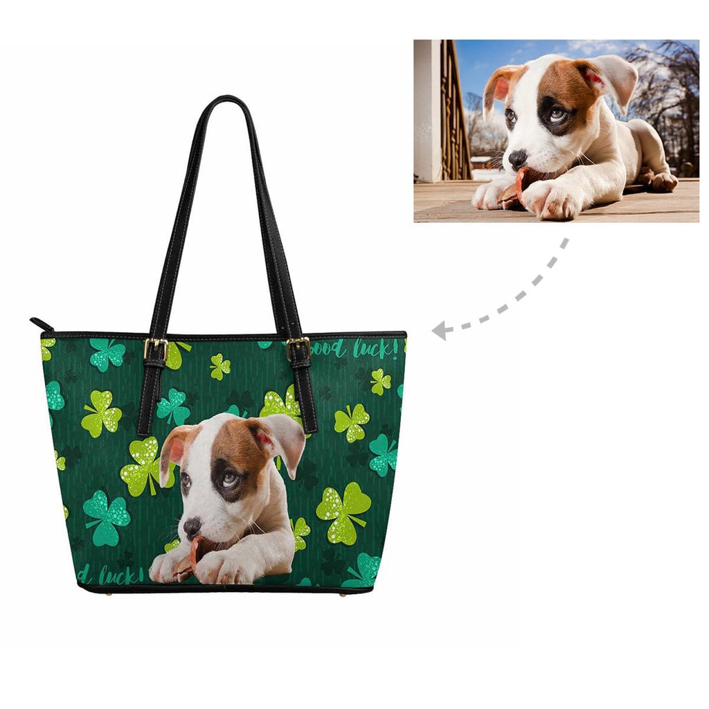 Custom Dog St. Patrick Shamrock Tote Bag
