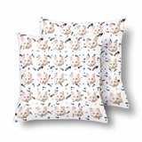 Custom Cat Face Paw and Fish Bone Throw Pillow Cover