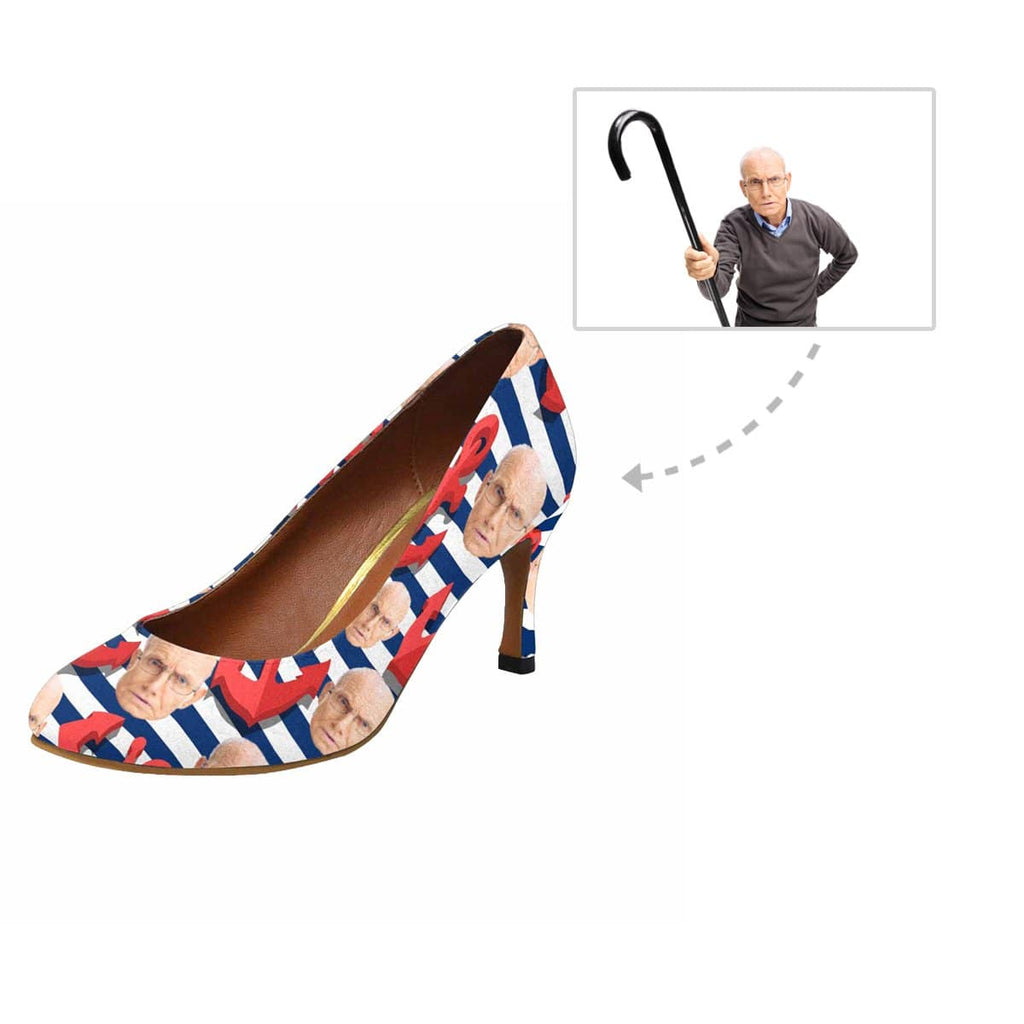 Custom Face Red & Blue Stripe Women's Pumps