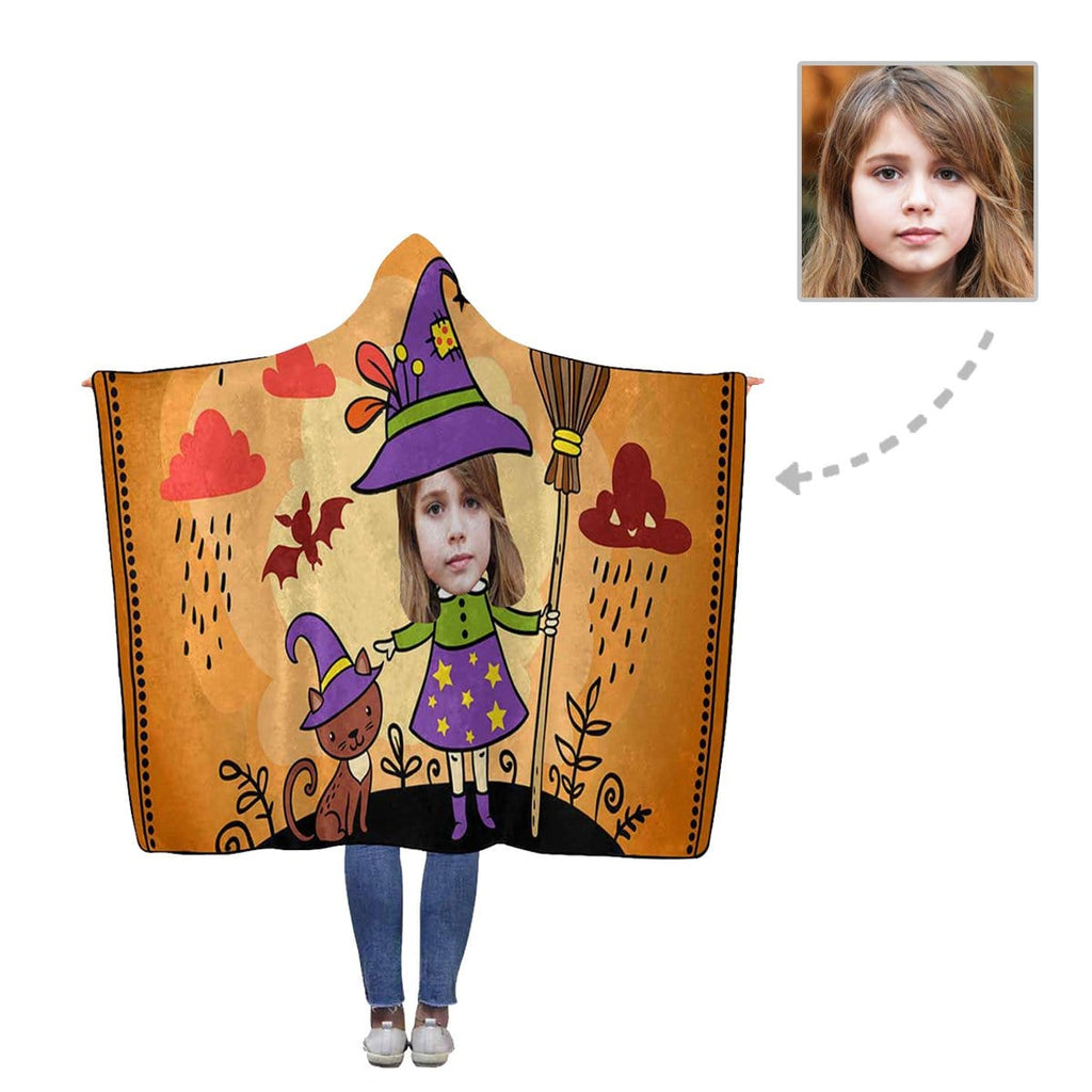 Custom Face Cute Witch Flannel Hooded Blanket
