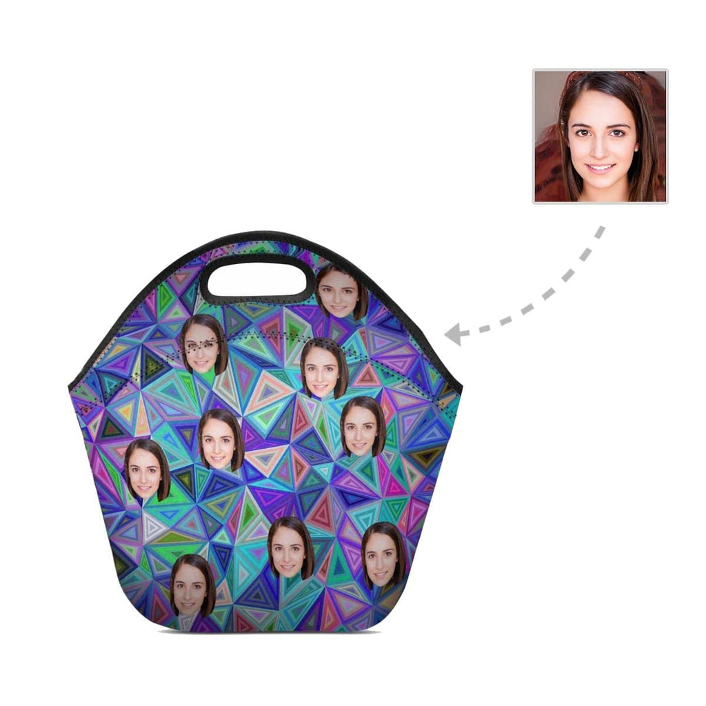 Custom Face Colorful Triangle Neoprene Lunch Bag