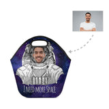 Custom Face Astronaut Neoprene Lunch Bag