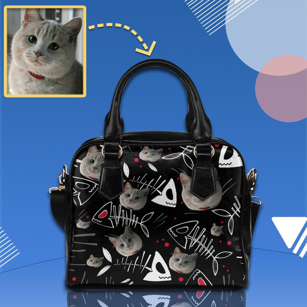 Custom Cat Face Fish Bone Shoulder Handbag